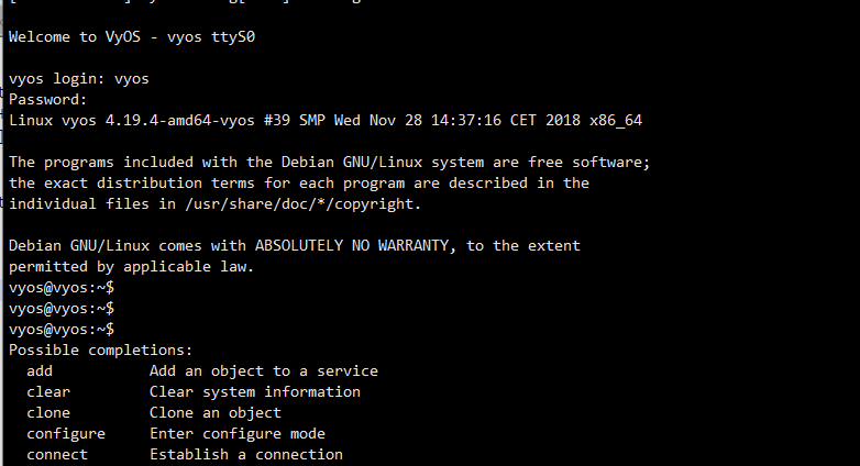 VyOS Serial Console System